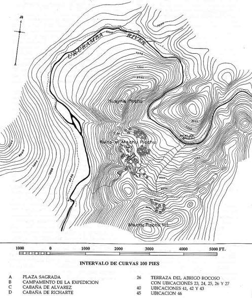 Plano del informe osteológico de Eaton con las localizaciones de las tumbas por él inspeccionadas.